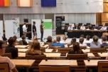 Die Jugendlichen führten im Abgeordnetenhaus eine lebhafte Debatte über den Klimaschutz. Foto: © Berliner Energieagentur, Dietmar Gust